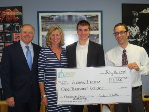 2014 Families in Broadcasting Scholarship winner Andrew Hannon, whose father Mark is the Market Manager for CBS Radio - Boston.